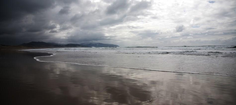 Cloudy beach walk